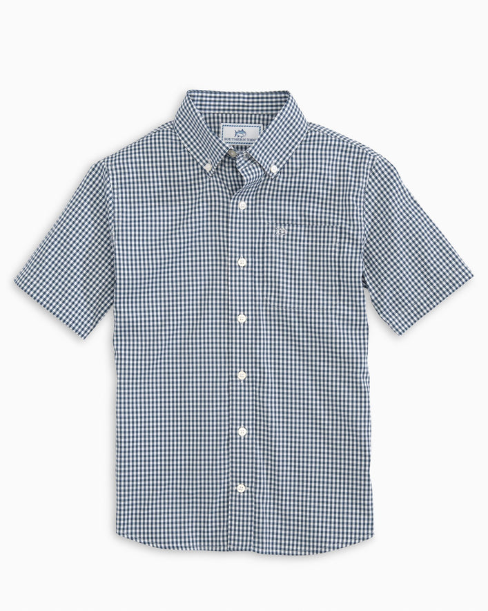 Boys Gingham Intercoastal Performance Short Sleeve Button Down Shirt