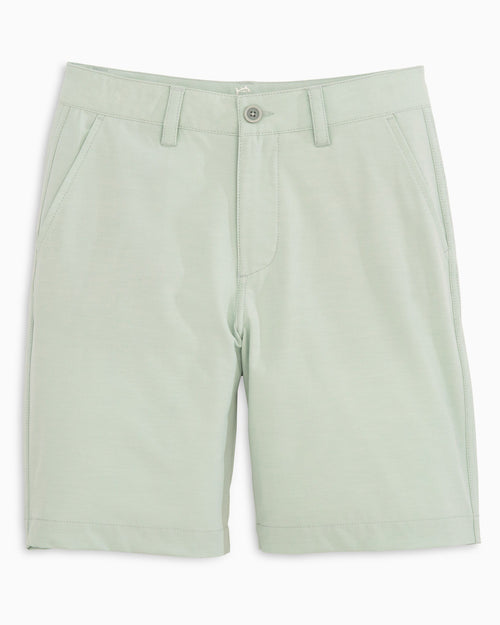 The front view of the Boys Heathered T3 Gulf Short by Southern Tide