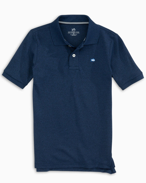 The front view of the Kid's Navy Heathered Jack Performance Polo Shirt by Southern Tide