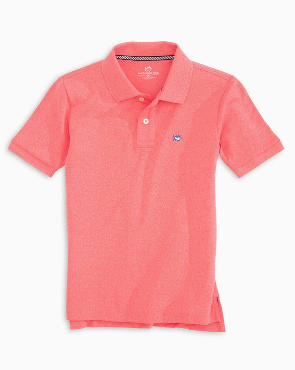 Boys Jack Heathered Performance Pique Polo