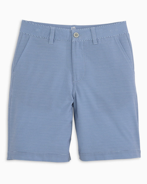 The front view of the Kid's Light Blue Heather Striped T3 Gulf Short by Southern Tide