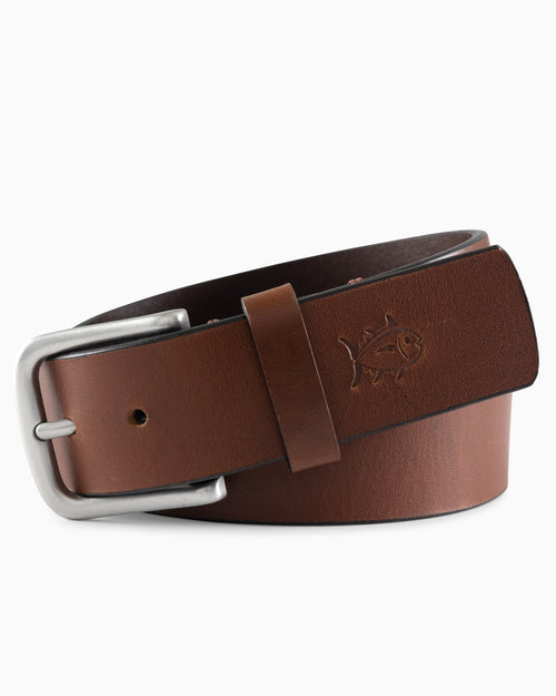 The front view of the Boys Leather Belt by Southern Tide