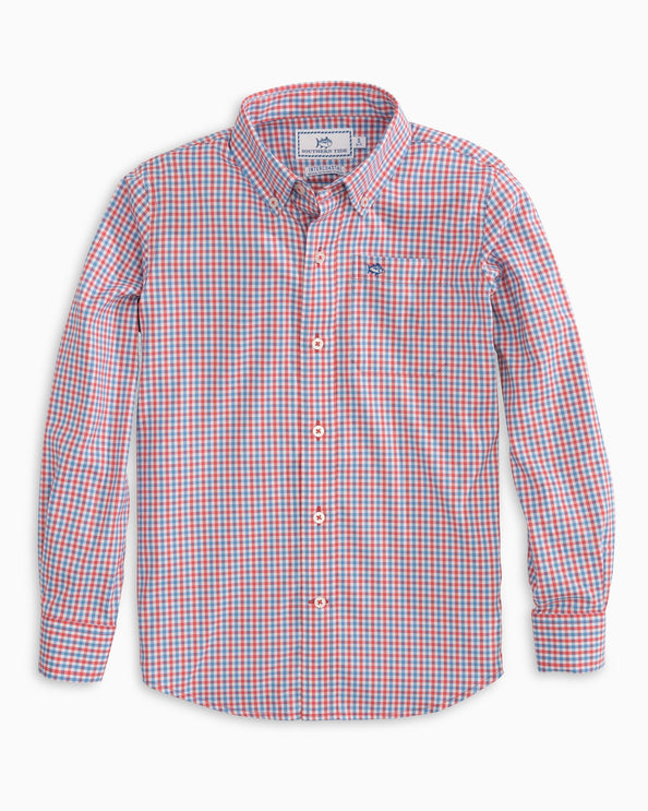 Boys Leeway Gingham Intercoastal Performance Sport Shirt