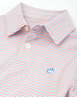 The front of the Kid's White Micro Striped Driver Performance Polo Shirt by Southern Tide