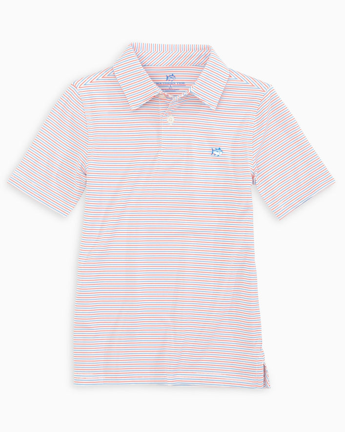 Boys Micro Striped Driver Performance Polo Shirt