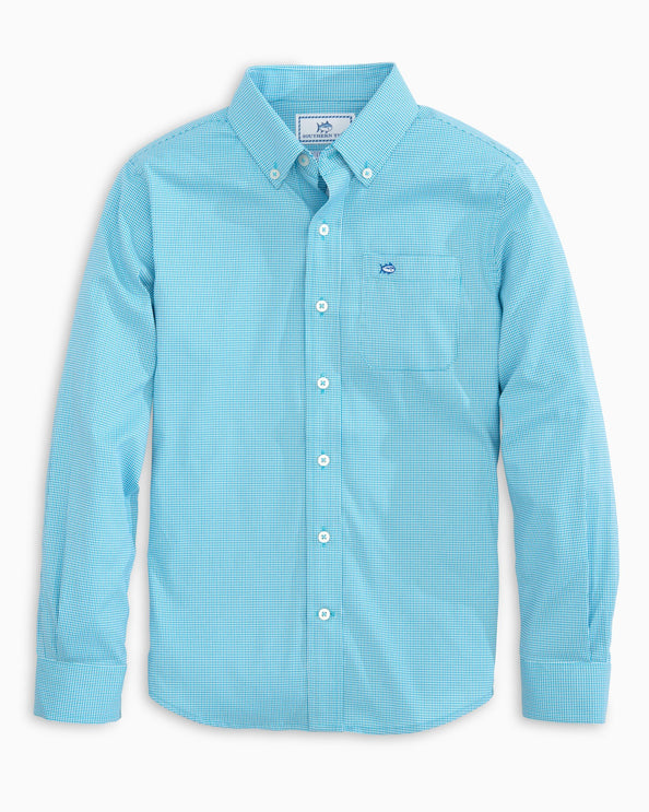 Boys Micro Tattersall Intercoastal Button Down Shirt