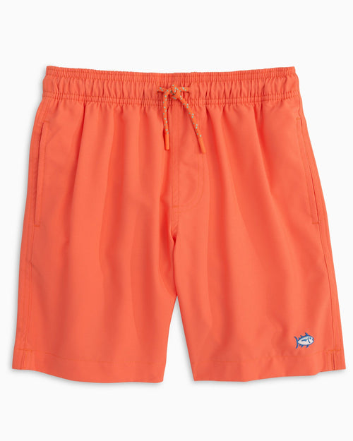 The front view of the Kid's Solid Swim Trunks by Southern Tide