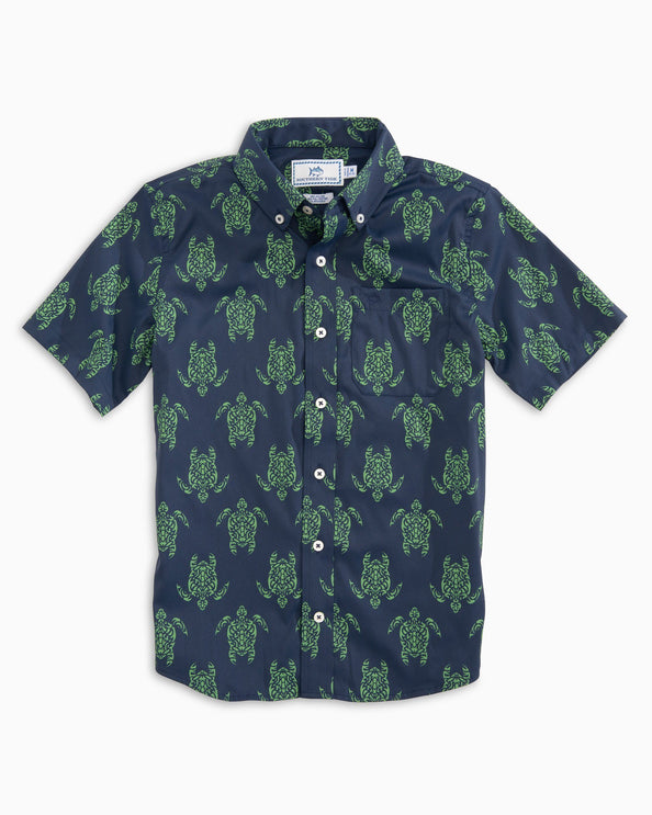 Boys Turtle Intercoastal Short Sleeve Button Down Shirt