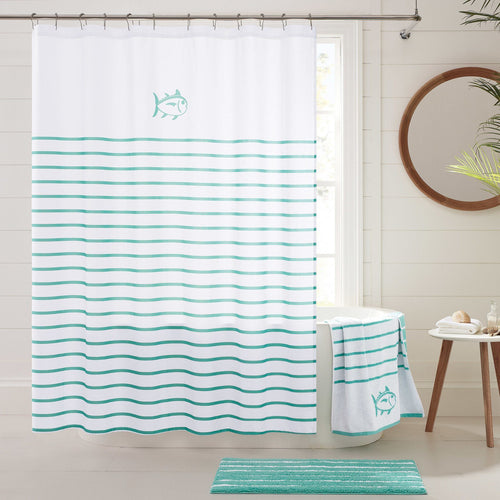 The lifestyle view of the Breton Shower Curtain by Southern Tide