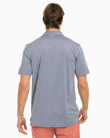 The front view of the Men's Grey Driver Striped Brrr Performance Polo Shirt by Southern Tide