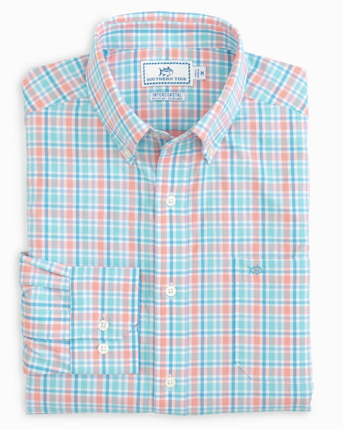 The folded view of the Men's Calero Check Intercoastal Sport Shirt by Southern Tide