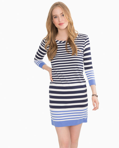 Camille Navy Striped Performance Dress | Southern Tide