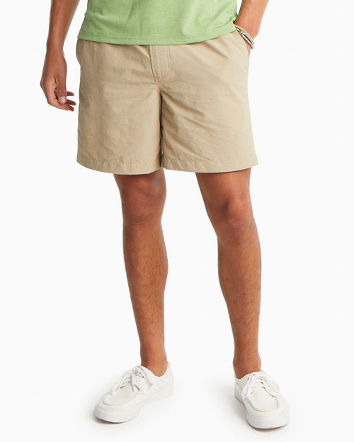 The front view of the Men's Khaki Cast Off Quick Dry Shorts by Southern Tide