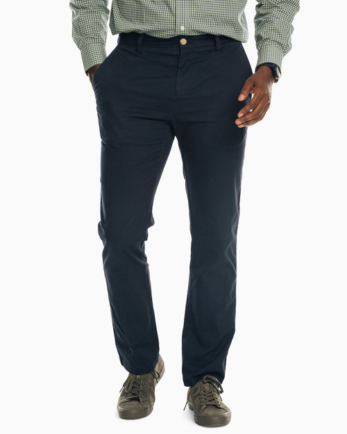 The front view of the Men's Navy The New Channel Marker Chino Pant by Southern Tide