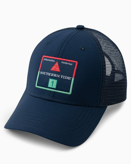 The front view of the Men's Channel Marker Performance Trucker Hat by Southern Tide