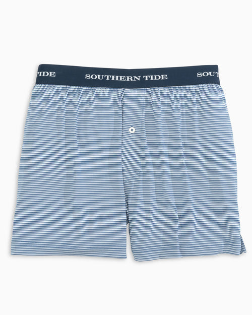 The front view of the Men's Navy Classic Striped Performance Boxer Shorts by Southern Tide