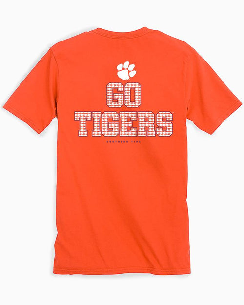 The back view of the Men's Orange Clemson Chant Short Sleeve T-Shirt by Southern Tide