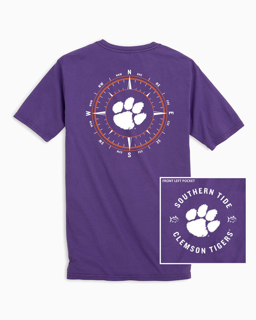 The back view and pocket detail of the Men's Purple Clemson Tigers Compass T-Shirt by Southern Tide