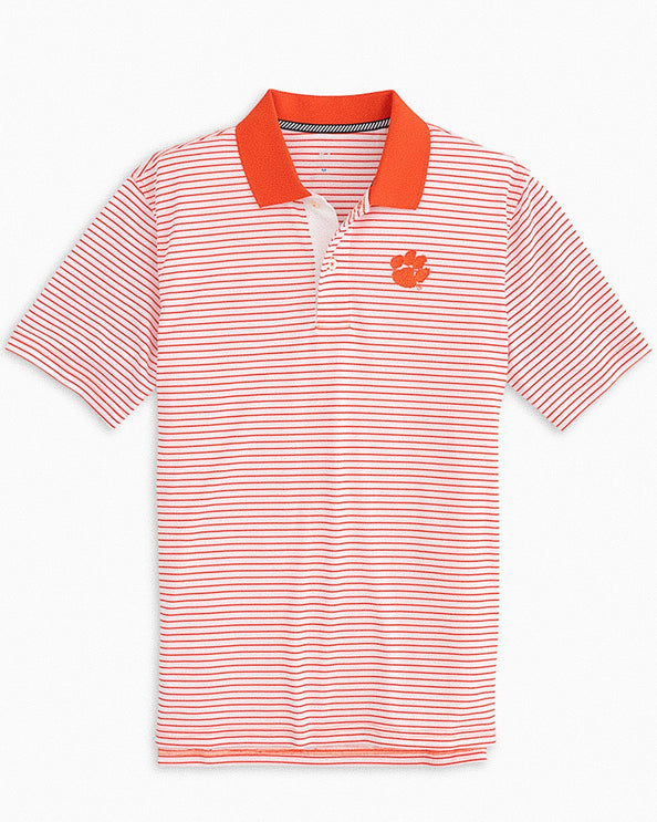 Clemson Tigers Pique Striped Polo Shirt