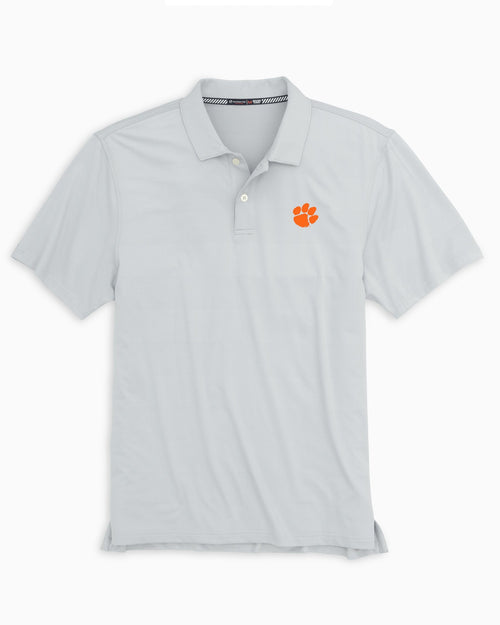 The front view of the Men's Grey Clemson Tigers Tonal Striped Polo Shirt by Southern Tide