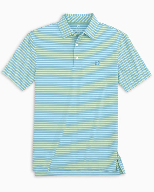 The front of the Men's Coen Stripe brrr°®-eeze Performance Polo Shirt by Southern Tide