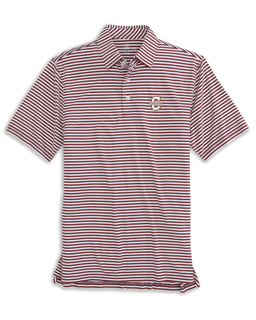 The front view of the Men's Red College of Charleston Cougars Striped Polo Shirt by Southern Tide