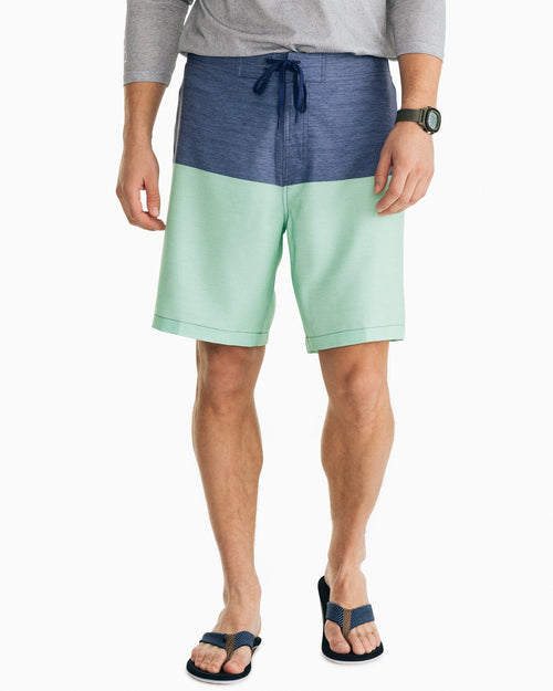 The front view of the Men's Navy Color Blocked Swim Short by Southern Tide