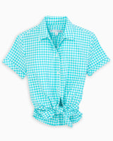 The front view of the Women's Blue Courtney Intercoastal Short Sleeve Button Down Shirt by Southern Tide