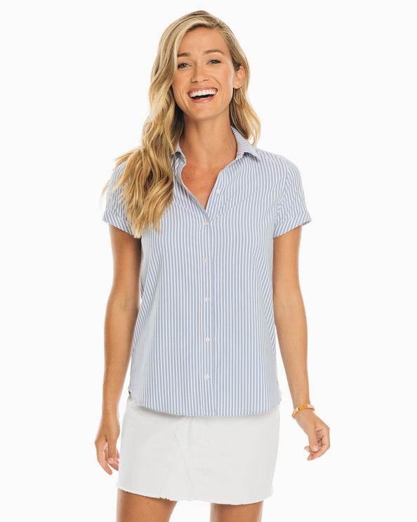 Courtney Striped Intercoastal Short Sleeve Button Down Shirt