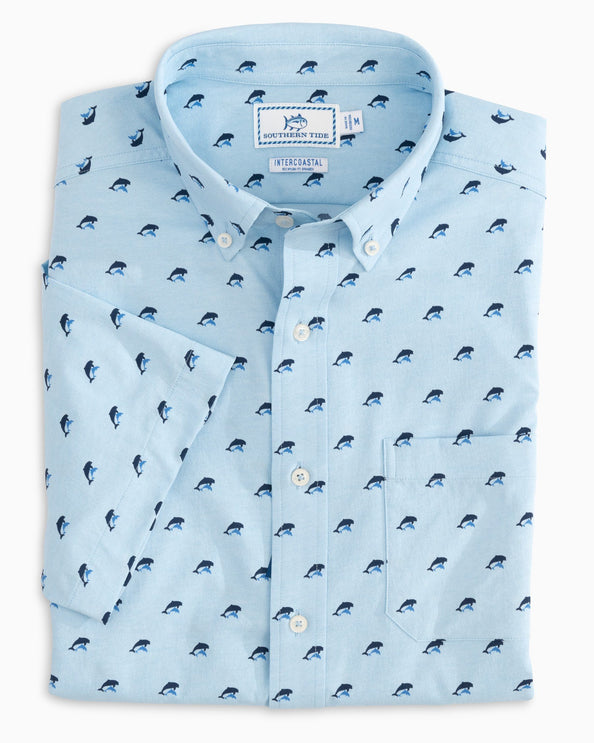 Dolphin Print Intercoastal Short Sleeve Sport Shirt