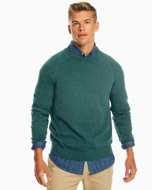 The front view of the Men's Blue Donegal Crew Neck Pullover Sweater by Southern Tide