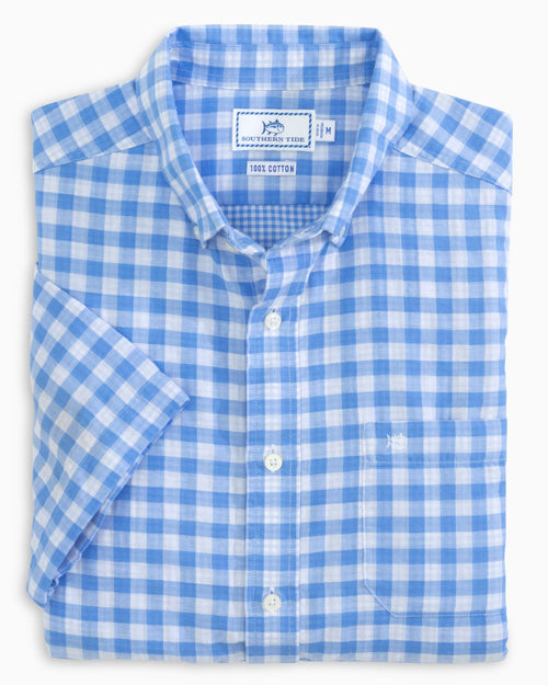 The folded view of the Men's Blue Double Gingham Short Sleeve Button Down Shirt by Southern Tide