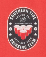 The back view of the Men's Red Drinking Team Long Sleeve T-Shirt by Southern Tide
