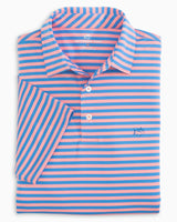 The folded view of the Men's Pink Driver Bold Stripe Performance Polo Shirt by Southern Tide