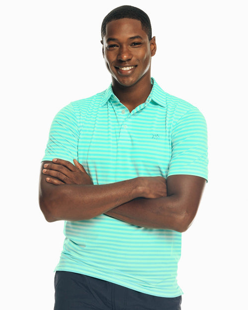 The front view of the Men's Blue Driver Bold Stripe Performance Polo Shirt by Southern Tide
