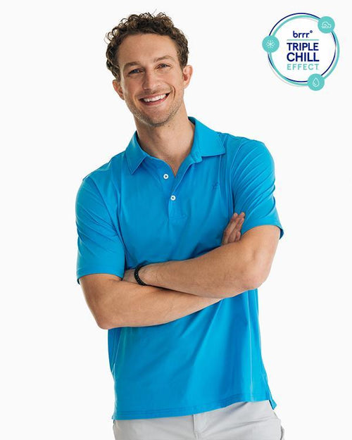 The front view of the Men's Blue Driver brrr® Performance Polo Shirt by Southern Tide
