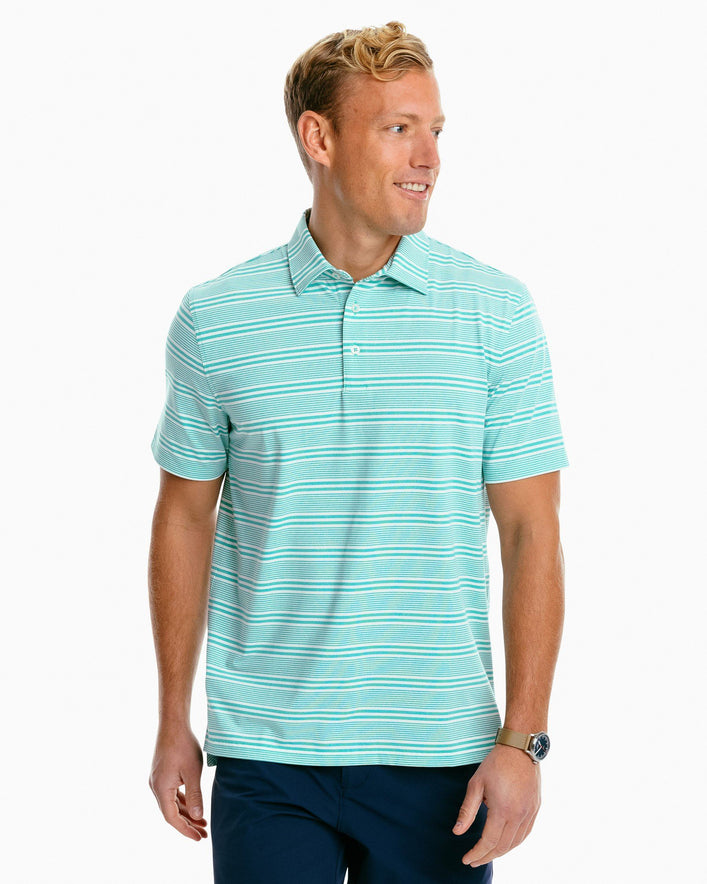 Driver Heather Striped Performance Polo Shirt