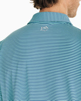 The front view of the Men's Green Micro-Striped Driver Performance Polo Shirt by Southern Tide