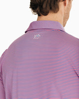 The front view of the Men's Pink Micro-Striped Driver Performance Polo Shirt by Southern Tide