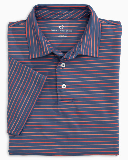 The folded view of the Men's Pink Driver Multi Striped Performance Polo Shirt by Southern Tide