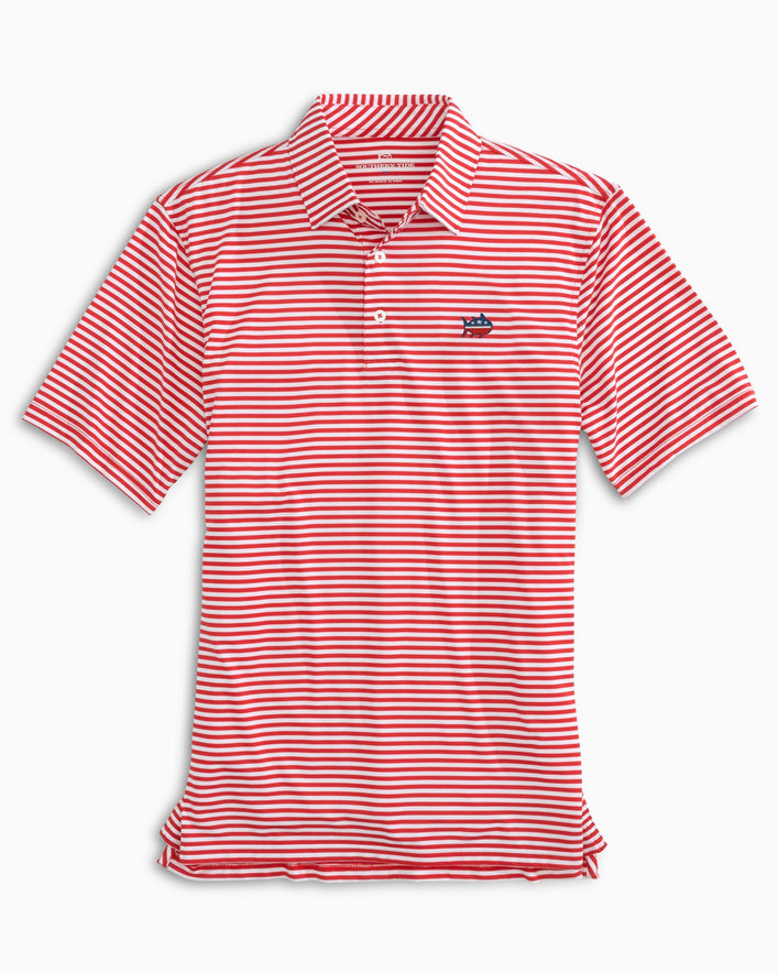 Driver USA Striped Performance Polo Shirt