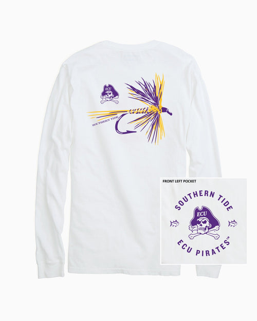 The back view and pocket detail of the Men's White East Carolina Fly Long Sleeve T-Shirt by Southern Tide
