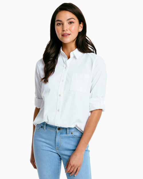 The front of the Women's Emery Performance Seersucker Button Down Shirt by Southern Tide