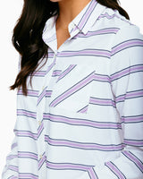 The front of the Women's Emory Striped Intercoastal Button Down Shirt by Southern Tide
