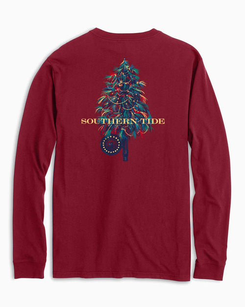 The back view of the Men's Red Fishing Fly Tree Long Sleeve T-Shirt by Southern Tide