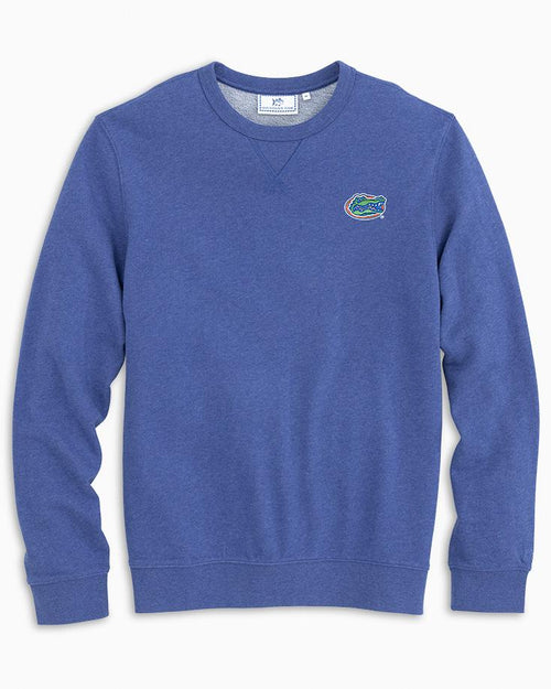 The front view of the Men's Blue Florida Gators Upper Deck Pullover Sweater by Southern Tide