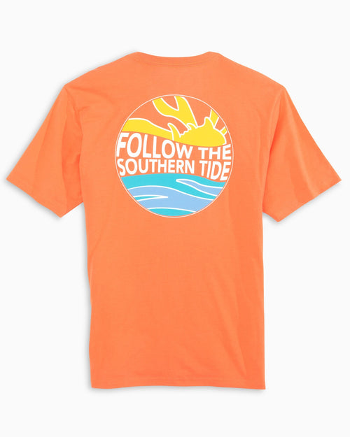 The back view of the Men's Orange Follow The Southern Tide T-Shirt by Southern Tide
