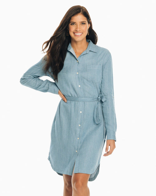 The front view of the Blue Denim Franca Dress by Southern Tide