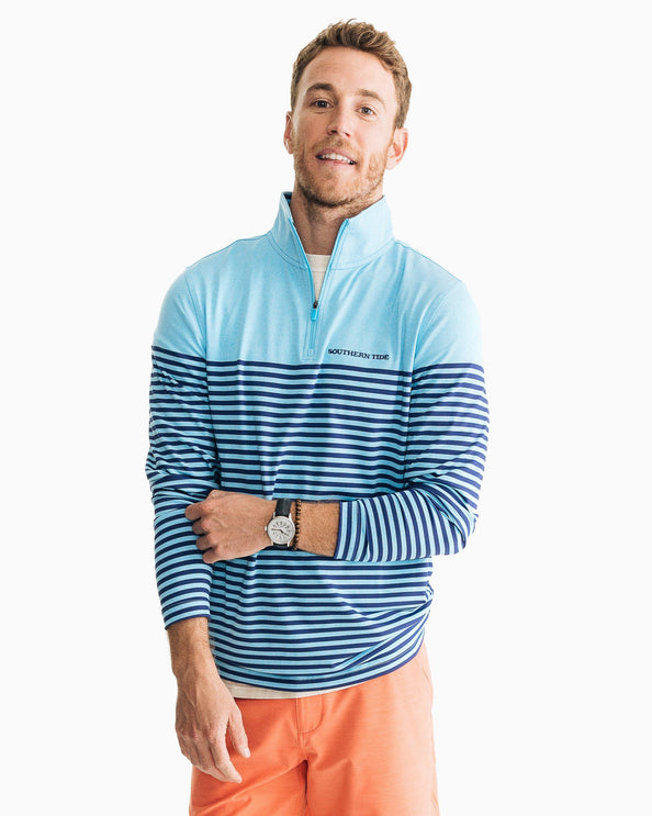 Front Street Striped Performance Quarter Zip Pullover