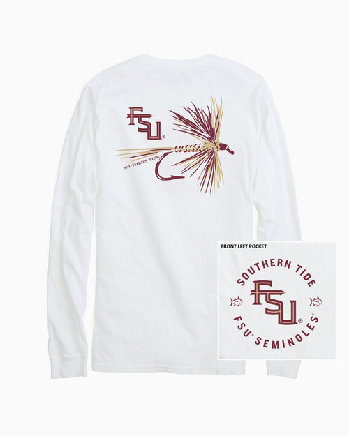 The back view and pocket detail of the Men's White FSU Seminoles Fly Long Sleeve T-Shirt by Southern Tide